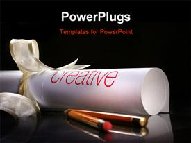 PowerPoint template displaying creative scrolling on white ribbon with couple of pencil