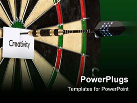 Bulls eye game concept, arrow and dartboard close-up presentation background