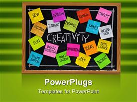 Creativity concept - related cloud of words color sticky notes and white chalk handwriting powerpoint design layout