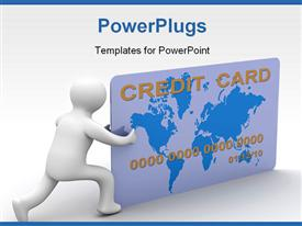 Businessman with a credit card on a white background. 3D image powerpoint theme