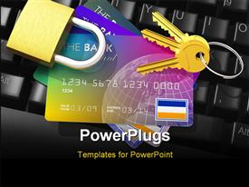 PowerPoint template displaying internet banking security depiction with credit cards, key and padlock on computer keyboard