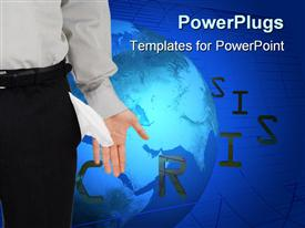 PowerPoint template displaying business man with empty pockets and a Crisis text