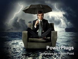 PowerPoint template displaying business man floating on water with umbrella in electric storm, risk management