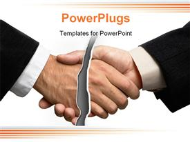PowerPoint template displaying two business men shaking hands with a slash breaking them