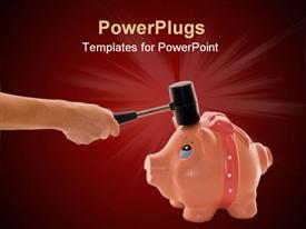 PowerPoint template displaying hand with hammer breaking piggy bank