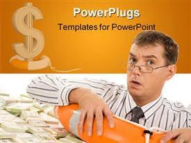 PowerPoint template displaying a man looking troubled in a buoy with lots of dollar bills
