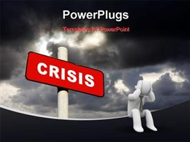 PowerPoint template displaying a person worried because of crisis
