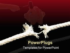 PowerPoint template displaying a string being torn into two parts with reddish background