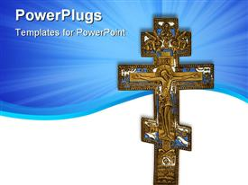 Antique cross powerpoint design layout