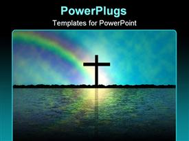 PowerPoint template displaying a holy cross on an island with rainbow in the background