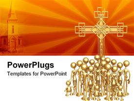 PowerPoint template displaying 3D group of golden figures with adults and children in front of big golden cross and depiction of church