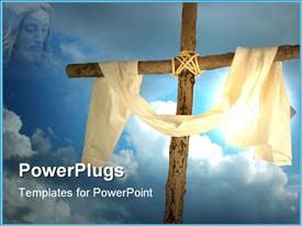 PowerPoint template displaying face of Jesus gazing on cross draped with cloth