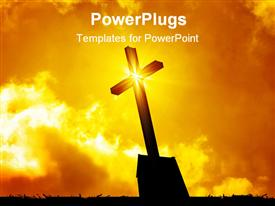 PowerPoint template displaying lighted cross silhouette with bursting star on cross on sunny lighted sky in the background