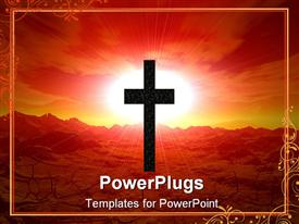 PowerPoint template displaying landscape. 3D computer graphics. Cross in desert