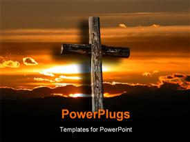 Rugged cross in front of a beautiful sunrise presentation background