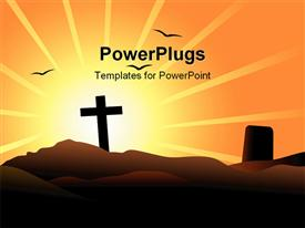 PowerPoint template displaying view of tomb over very bright sun
