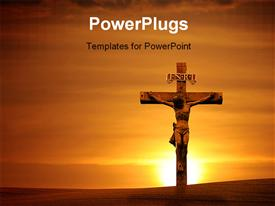 PowerPoint template displaying the crucifixion of Jesus with a sunset in the background