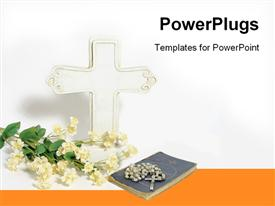 PowerPoint template displaying a white cross with some flowers and a rosary on a bible