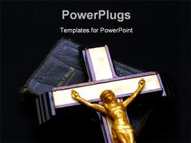 PowerPoint template displaying cross with gold Jesus on Holy Bible over black background