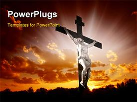 Christian cross with Jesus Christ in beautiful sunrise powerpoint template
