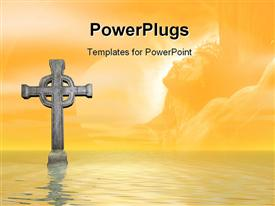 PowerPoint template displaying rendered stone cross or crucifix Celtic version