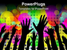 PowerPoint template displaying cheering people hands silhouettes with lights in the background.