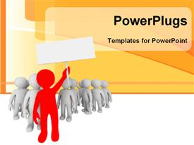 PowerPoint template displaying leadership depictionasred colored 3Dmanleads group