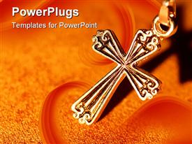PowerPoint template displaying a holy cross with orange background