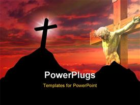High resolution graphic of a cross on top of a mountain powerpoint design layout