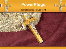 PowerPoint template displaying a cross with a rock in the background
