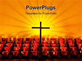 PowerPoint template displaying crucifix and red candle holders with cross in Catholic church against old adobe wall
