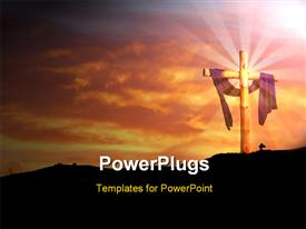 PowerPoint template displaying concept wooden cross against sunrise clouds and burning red sky in the background.