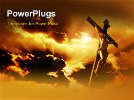Crucifixion of Jesus Christ with dramatic sky in background powerpoint template
