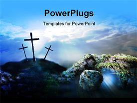 PowerPoint template displaying a number of holy crosses with clouds in the background