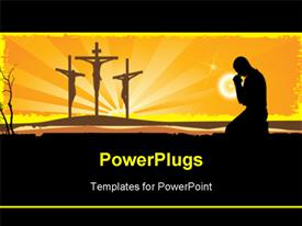 PowerPoint template displaying crucifixion. Silhouettes of the three crosses and praying man