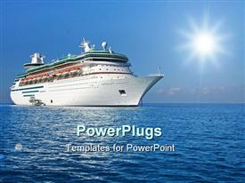 PowerPoint template displaying white colored modern cruise ship sailing blue ocean