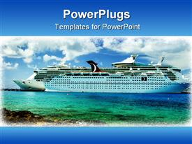 PowerPoint template displaying framed cruise ship sea water white clouds blue sky