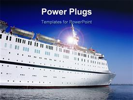 PowerPoint template displaying big white cruise ship in sea port in the background.