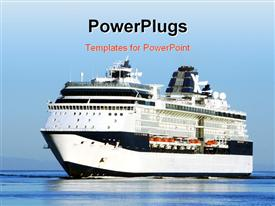 PowerPoint template displaying cruise ship entering harbor in the background.