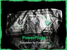 PowerPoint template displaying crumpled one dollar bill with reflection in black background