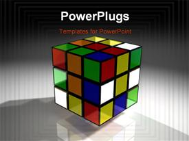 PowerPoint template displaying a colorful 3D rubix cube on an ash colored background