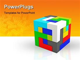 PowerPoint template displaying a cube made of various colored parts and orange background