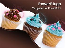 PowerPoint template displaying three cupcakes in a row isolated against white in the background.