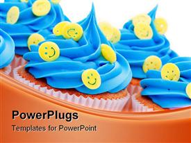 PowerPoint template displaying cupcakes decorated with yellow smiley face sprinkles in the background.