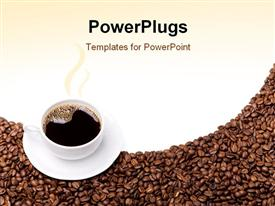 PowerPoint template displaying steaming cup of coffee and saucer on brown grains