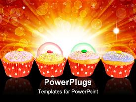 PowerPoint template displaying row with cupcake muffins with red paper in the background.