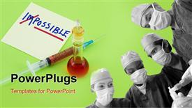 Word impossible transformed into possible on green background with syringe and beaker powerpoint template