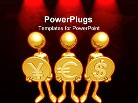 PowerPoint template displaying three figures holding various currency signs