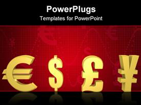PowerPoint template displaying isolated currencies to pick in gold - a 3D depiction in the background.
