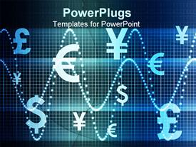 PowerPoint template displaying blue World Currencies Business Abstract Background Wallpaper in the background.